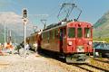 ABe 4/4 37 vor einem TW III in Bernina Diavolezza. 1990