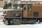 Triebdrehgestell des Ge 6/6 I 412 in Samedan. 1991