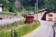 Bernina Express mit Gem 4/4 802 und einem TW II in Brusio. 2001