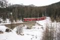 ABe 4/4 55 und 54 auf der Rosegbach-Brücke oberhalb Pontresina
