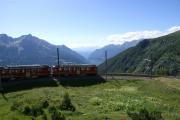 ABe 4/4 48 und 47 in der Panoramaschleife von Alp Grüm