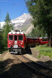 Bernina Express mit ABe 4/4 46 in der Stablini-Schleife. Ostflanke des Piz Palü