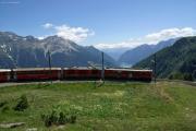 """ABe 4/4 56 und Gem 4/4 801 auf der """"Rotonda"""" von Alp Grüm"""