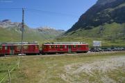 Bernina Express mit ABe 4/4 48 und 47 bei Bernina Diavolezza