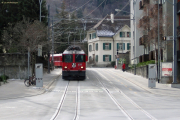 Ge 4/4 629 mit einem Zug von Arosa in der Engadinstrasse in Chur.