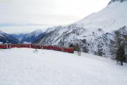 Zug 1633 mit ABe 4/4 41 und 42 in der Kehrschleife von Alp Grüm.