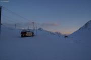 Abendstimmung bei der Wasserscheide zwischen Lago Bianco und Lej Nair (-20°C).