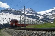 ABe 4/4 III 54 in der Kehre unmittelbar vor Alp Grüm. Rechts der Palügletscher.