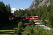"""Der """"Allegra"""" ABe 8/12 3504 auf der Rosegbachbrücke oberhalb Pontresina"""
