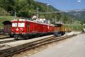 Gem 4/4 801 und 802 zusammen neben dem Ge 4/4 182 in Poschiavo