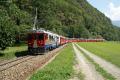 ABe 4/4 54 und 56 mit einem Bernina Express unterhalb des Kreisviadukts von Brusio