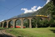 ABe 4/4 34 und 30 mit zwei Pullmanwagen auf dem Kreisviadukt von Brusio