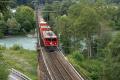 Ge 4/4 I 610 mit einem Güterzug auf der Rheinbrücke bei Reichenau