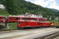 Gem 4/4 801 und 802 abgestellt in Poschiavo, welches ABe 8/12 3503 gerade velässt