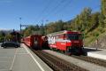 Filisur. Ge 4/4 III 646 mit Zug 1137 nach St. Moritz kreuzt Zug 1140 nach Chur
