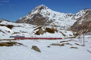 In der Schlaufe der Alps da Buond oberhalb Bernina Lagalb. Darüber Piz Albris (m) und Piz Pischa (r).