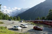 Morteratschgletscher mit Berninagruppe. Montebello-Kurve