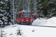 100 Jahre Chur - Arosa. ABe 8/12 3509 mit Regelzug nach Chur bei der Dienststation Haspelgrube