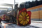 100 Jahre Chur - Arosa. Dampfschneeschleuder Xrotd 9213 in Arosa!