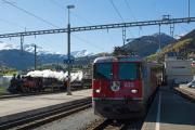 Dampf am Oberalppass - Steam on the Oberalp Pass - Sonderzug mit HG 3/4 4 der DFB, Ge 4/4 II 623 der RhB, Disentis/Mustér