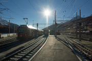 Umbau des Bahnhofs St. Moritz. ABe 8/12 3512.