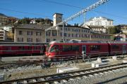 Umbau des Bahnhofs St. Moritz. ABe 8/12 3505.