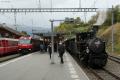 """Bahnoldtimer - 20 Jahre Club 1889: """"Holsboer Memorial Express"""" mit G 3/4 11 neben Regelzug mit Ge 4/4 III 646 in Filisur"""