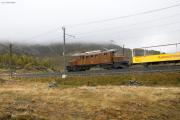 """Bahnoldtimer - 20 Jahre Club 1889: """"Bellavista-Express"""" mit Ge 4/4 182 bei der oberen Berninabachbrücke"""