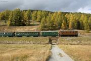 """Bahnoldtimer - 20 Jahre Club 1889: """"Lunghin-Express"""" mit Ge 4/6 353 zw. Samedan und Bever"""