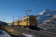 """Bahnoldtimer - 20 Jahre Club 1889: """"Montebello-Express"""" mit ABe 4/4 I 30 & 34 bei der nördl. Staumauer des Lago Bianco (Wasserscheide)"""