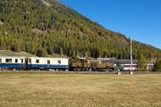 """Bahnoldtimer - 20 Jahre Club 1889: """"Pullmann-Express"""" mit Ge 6/6 I 415 vor Bever"""