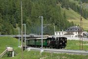 «Triangul cun vapur»: G 3/4 11 im Dreieck St. Moritz—Pontresina—Samedan am Bahnhofsfest St. Moritz am 26.8.2017. Celerina