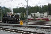 «Triangul cun vapur»: G 3/4 11 im Dreieck St. Moritz—Pontresina—Samedan am Bahnhofsfest St. Moritz am 26.8.2017. St. Moritz