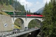 «Triangul cun vapur»: G 3/4 11 im Dreieck St. Moritz—Pontresina—Samedan am Bahnhofsfest St. Moritz am 26.8.2017. St. Moritz.