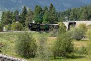 «Triangul cun vapur»: G 3/4 11 im Dreieck St. Moritz—Pontresina—Samedan am Bahnhofsfest St. Moritz am 26.8.2017. Punt Muragl.
