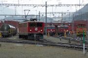 Ge 6/6 II 702, Ge 4/4 I 603 und 602 in Samedan