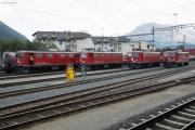 "Lokparade mit den vier letzten ""BoBo I"" Ge 4/4 I 602, 603, 605 und 610 in Samedan."