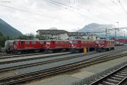 """Lokparade mit den vier letzten """"BoBo I"""" Ge 4/4 I 602, 603, 605 und 610 in Samedan. Wenn etwas stört auf dem Bild..."""