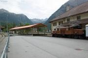 Ge 6/6 I 407 vor dem Bahnmuseum Albula in Bergün mit neuem Unterstand.