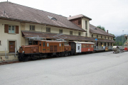 Ge 6/6 I 407 vor dem Bahnmuseum Albula in Bergün.