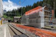 Preda. Bau des neuen Albula-Tunnels neben dem alten Tunnel von 1903