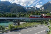 Neue und alte Hinterrheinbrücke Reichenau