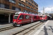 Ge 4/4 I 605 mit Sonderzug (FairFotoFahrt); ABe 8/12 3508 mit Pendelzug von Filisur; Davos Platz