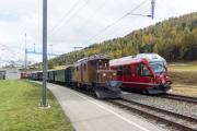 Ge 4/4 162 mit Sonderzug (FairFotoFahrt) und RE mit ABe 8/12 3509; Bernina Suot