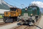 100 Jahre RhB-Krokodil, 'CC' Ge 6/6 I 414 auf Parallelfahrt mit der SBB Ce 6/8 III 14305 nach Ems Werk