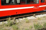 Mont Blanc-Express. SNCF. Stromschiene mit Stromabnehmer, Saint-Gervais-Le Fayet