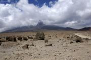 Piste zur Kibo-Hütte. Mitte-links verhüllt der Mawenzi. Kilimanjaro NP. Marangu-Route, Tag 4