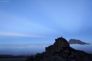 Mawenzi (r) in der kurzen Abenddämmerung. Kibo-Hütten, Marangu-Route, Tag 4