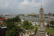 Chao Phraya vom Wat Arun aus. Bangkok