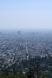 Downtown Los Angeles mit endloser S Normandie Ave, Griffith Observatory, CA